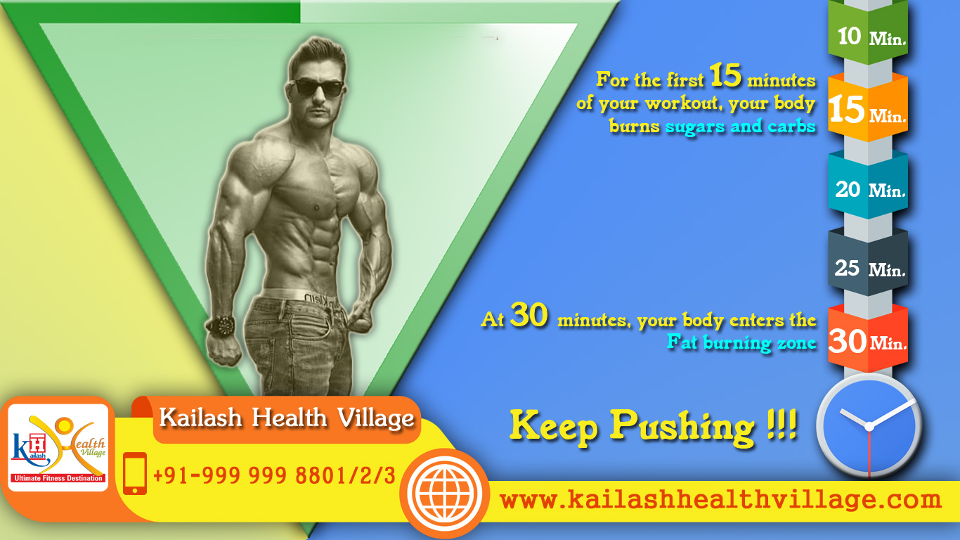 Keep Pushing Minimum 30 mints of workout is required to Burn Fat.