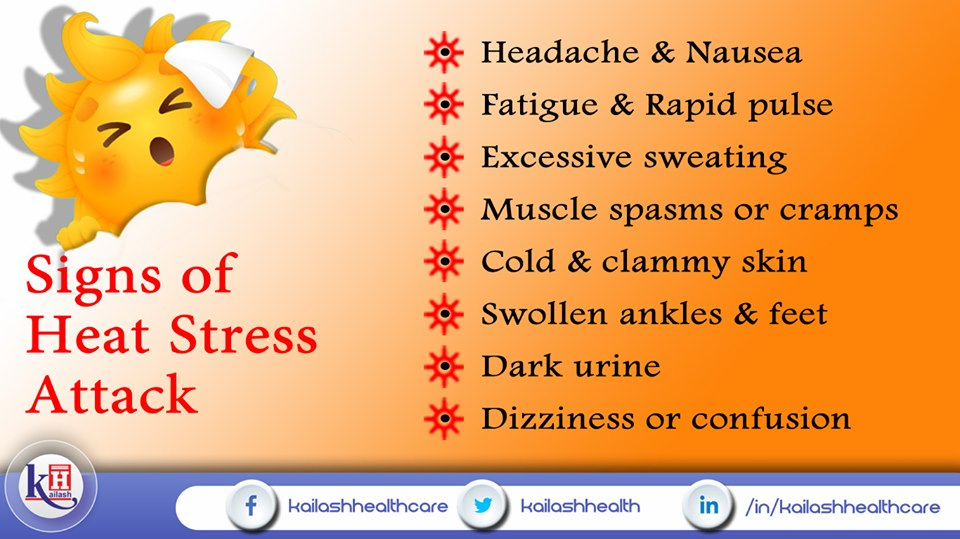 These signs may indicate Heat Stress attack, cool yourself down & relax.