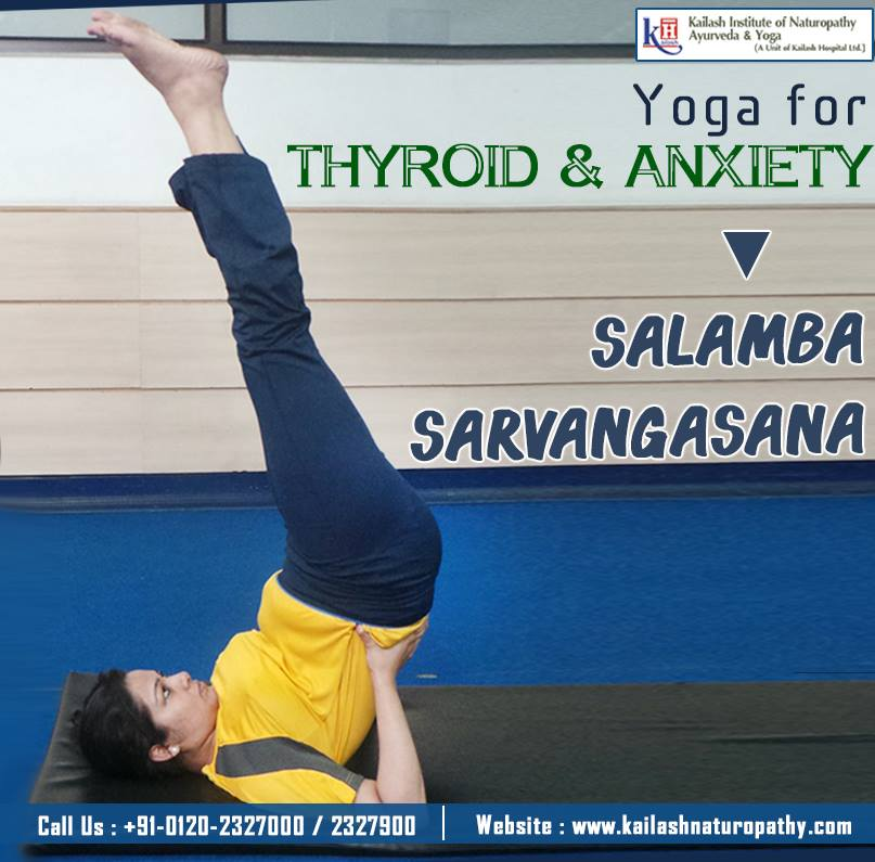Salamba Sarvangasana stimulates the thyroid and prostate glands helping to relieve thyroid problems & stress.