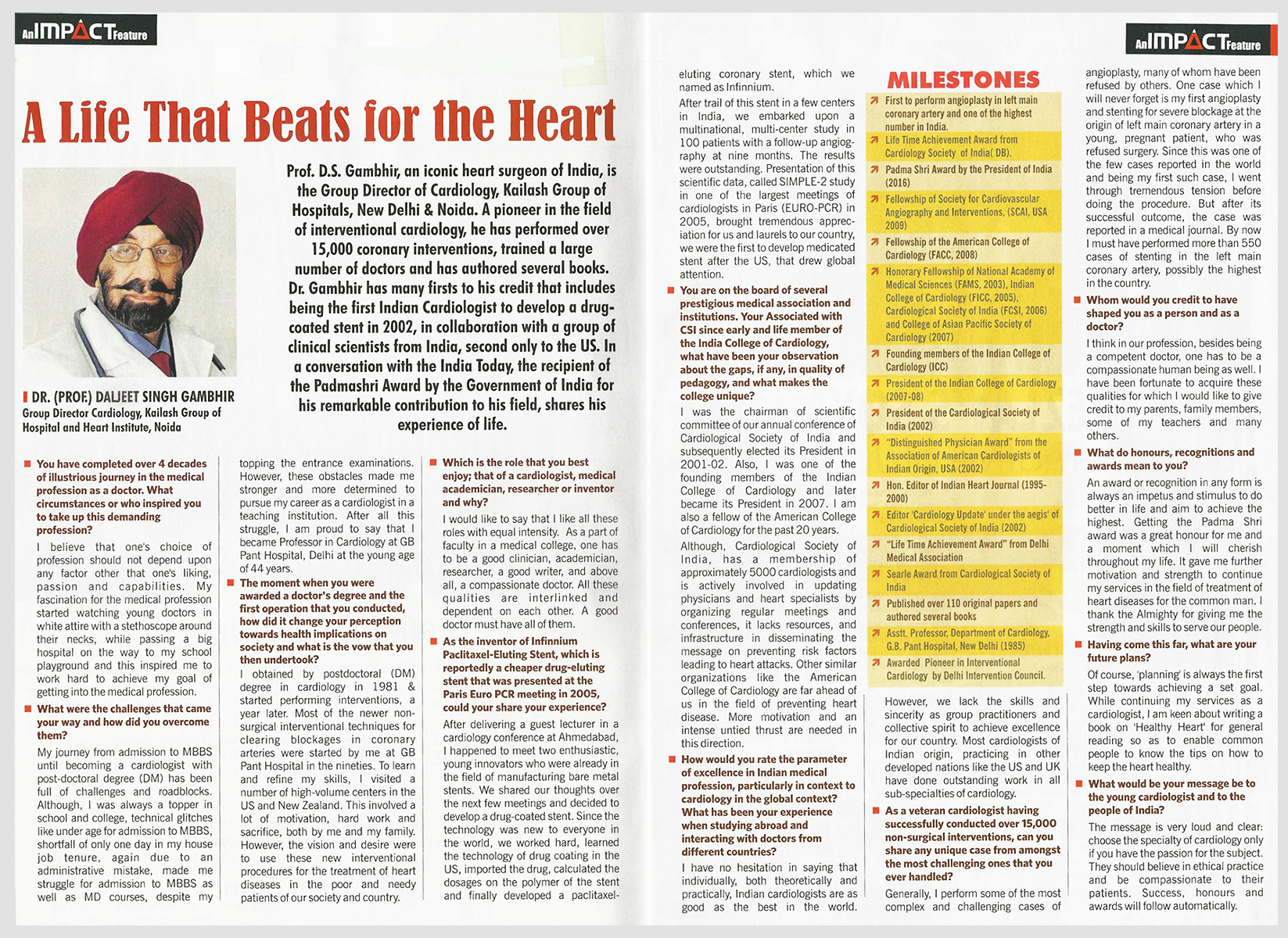 India Today publishes interview with India's iconic Heart Surgeon Prof. Dr. D.S Gambhir for his remarkable contribution to Cardiology