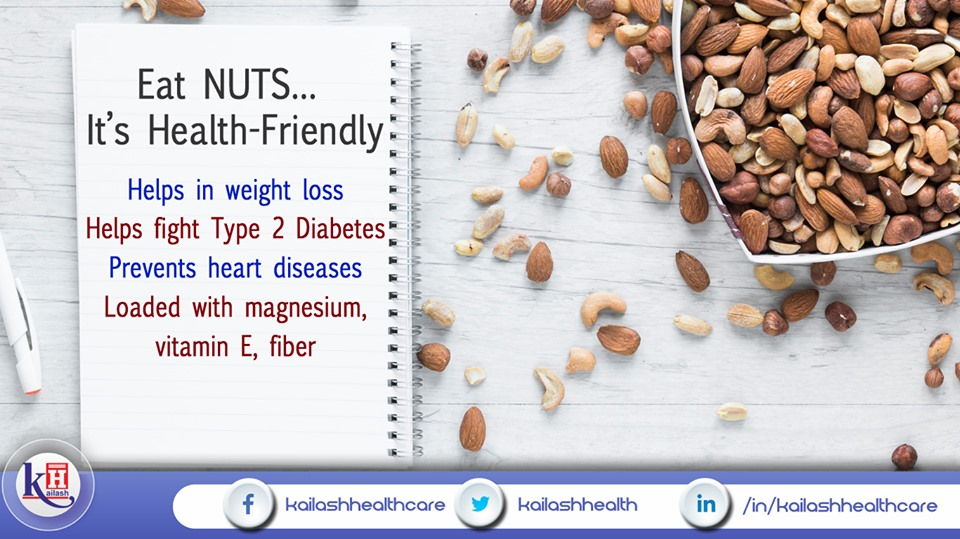 Include Nuts in your daily diet as it aids many health benefits including weight loss & preventing heart diseases.