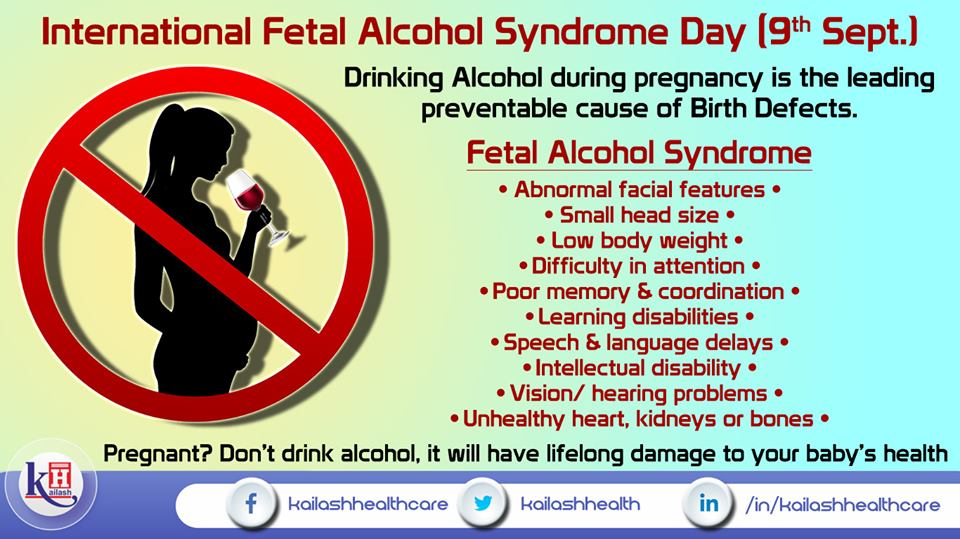Avoid drinking alcohol during pregnancy as it is the most common & preventable cause of Birth defects in babies.