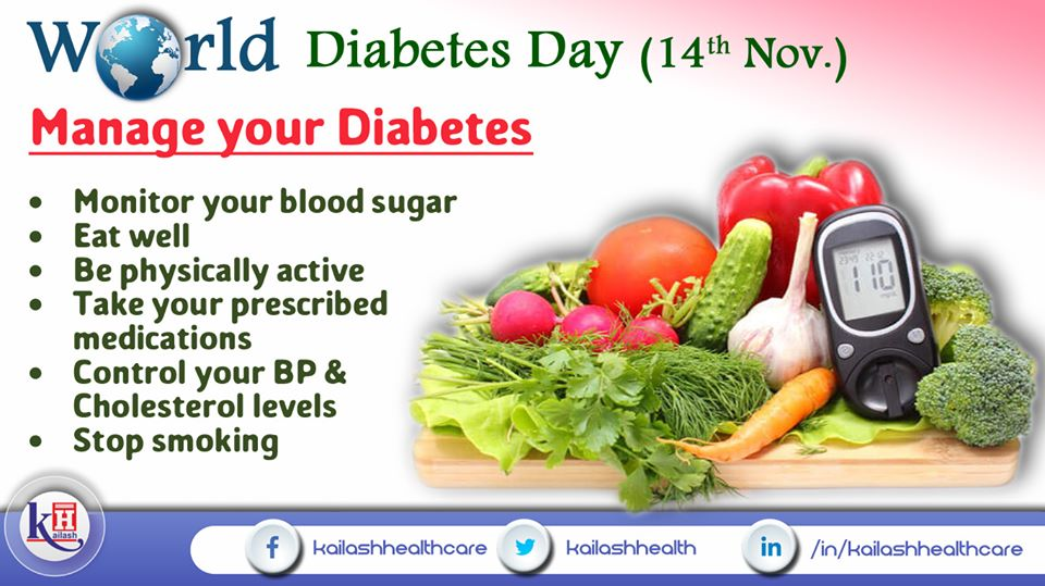 Adopt a healthy lifestyle with no smoking & manage your Diabetes wisely.