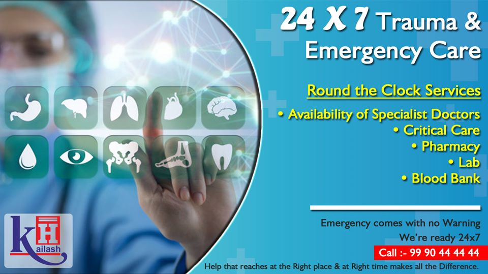 Emergency can strike anytime anywhere! Our Emergency services are available 24X7. Call 9990444444 for medical emergencies.
