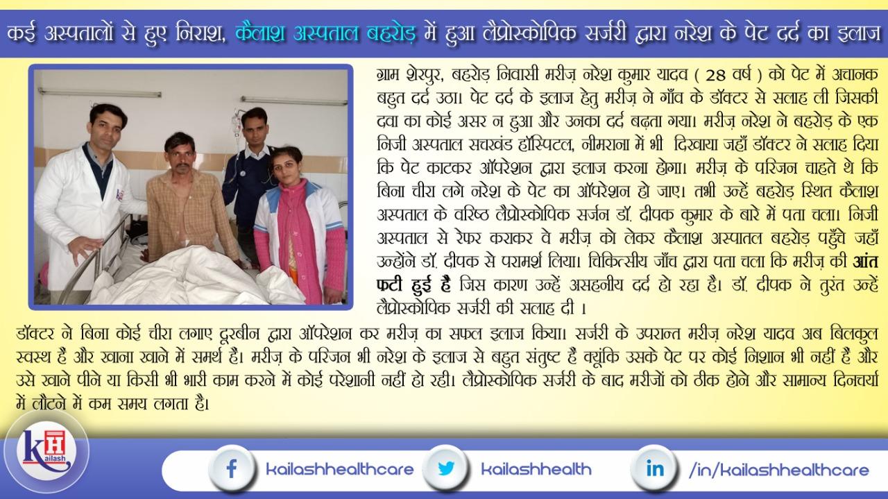 Patient treated successfully through Laparoscopic Surgery at Kailash Hospital Behror