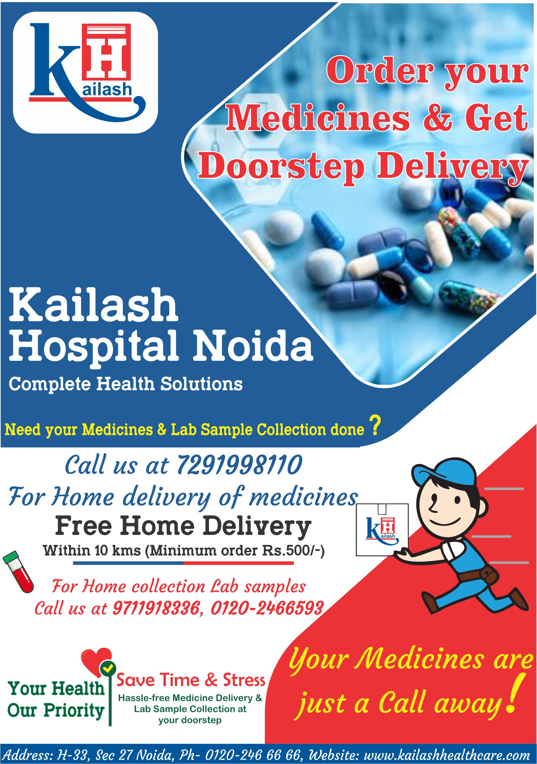 Get your Medicines delivered & Lab tests done at your doorstep. Call us & we'll be there to offer the best healthcare services.