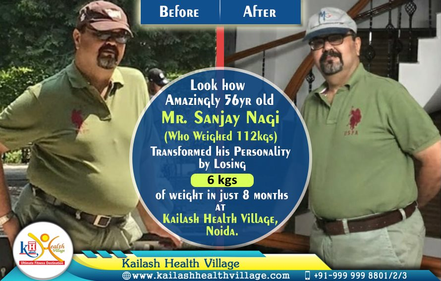 56yr old Mr. Sanjay Nagi lost 6 kgs of excess weight in just 8 months amazingly at Kailash Health Village, Noida