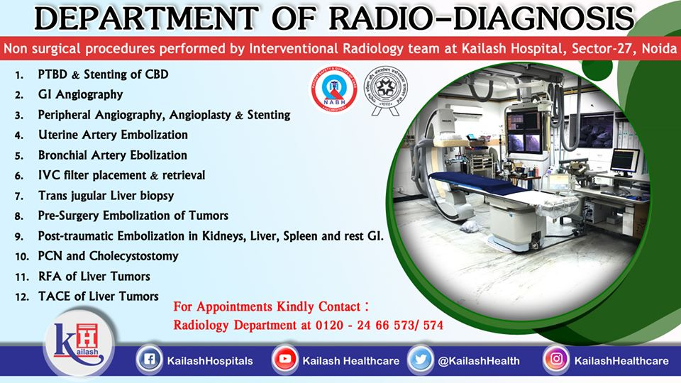 Interventional Radiology Team at Kailash Hospital Noida performs various Non-Surgical procedures through advanced & high-precision equipments.