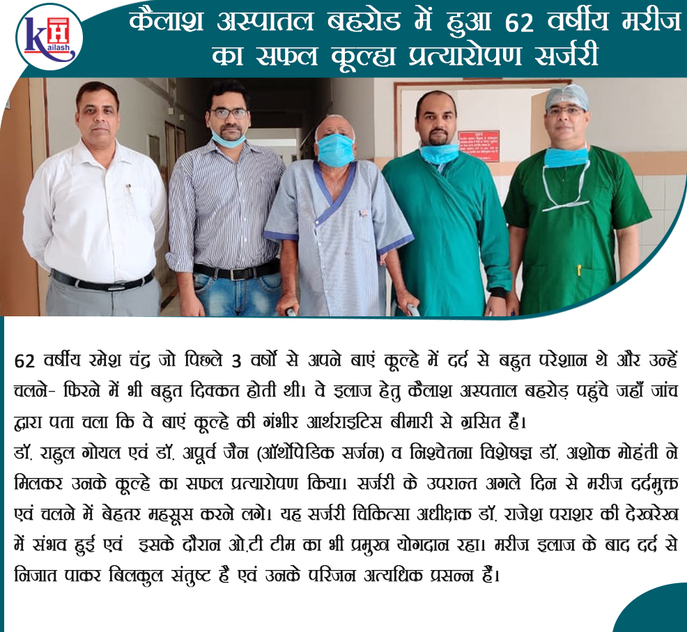 Successful Hip Replacement Surgery of a 62 yr old patient at Kailash Hospital Behror