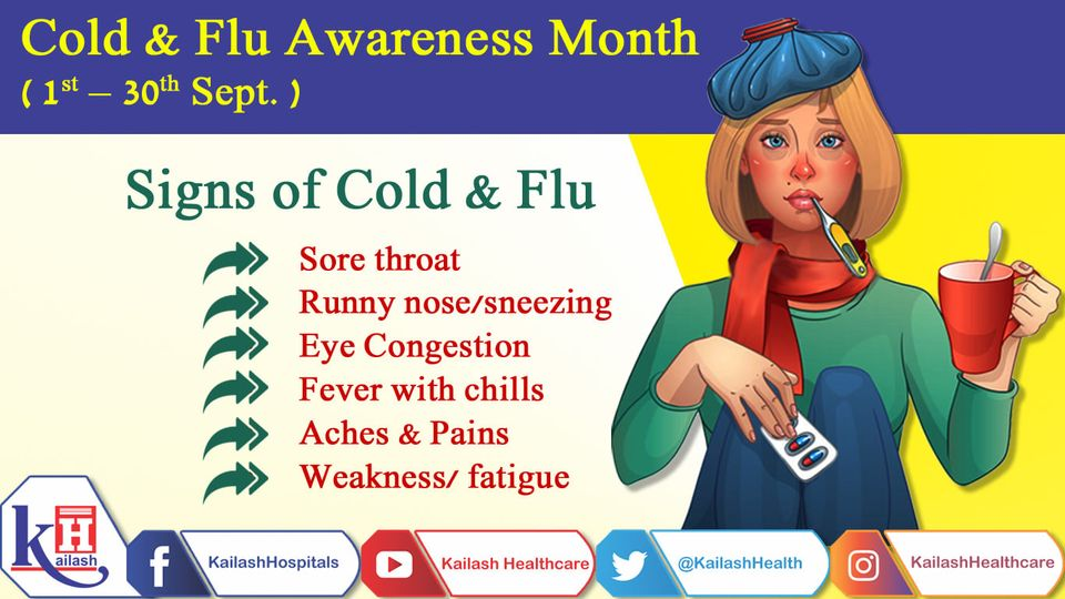 Flu and the common cold are both respiratory illnesses but they are caused by different viruses. Know the symptoms of Cold & Flu.