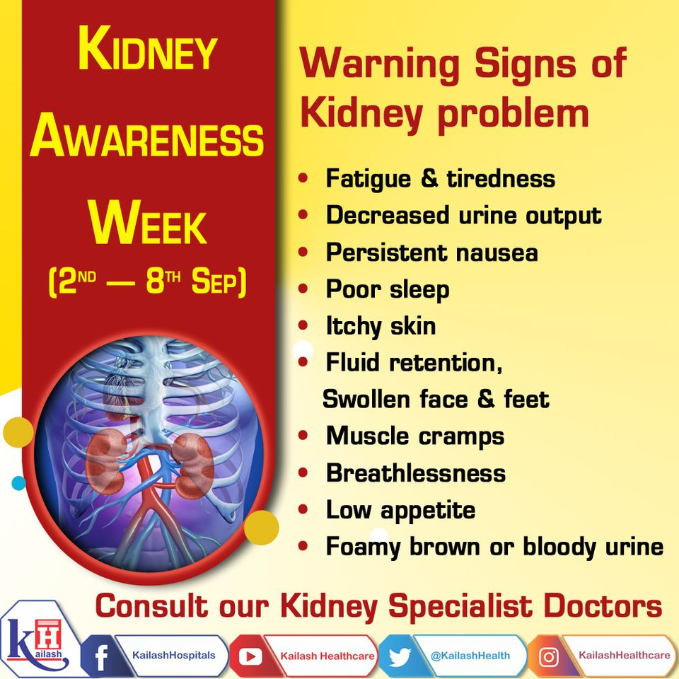 Kidney Disease is a silent killer. Early diagnosis of its symptoms can help in proper treatment. Know the Warning Signs of Kidney problem. Consult our Nephrologists.