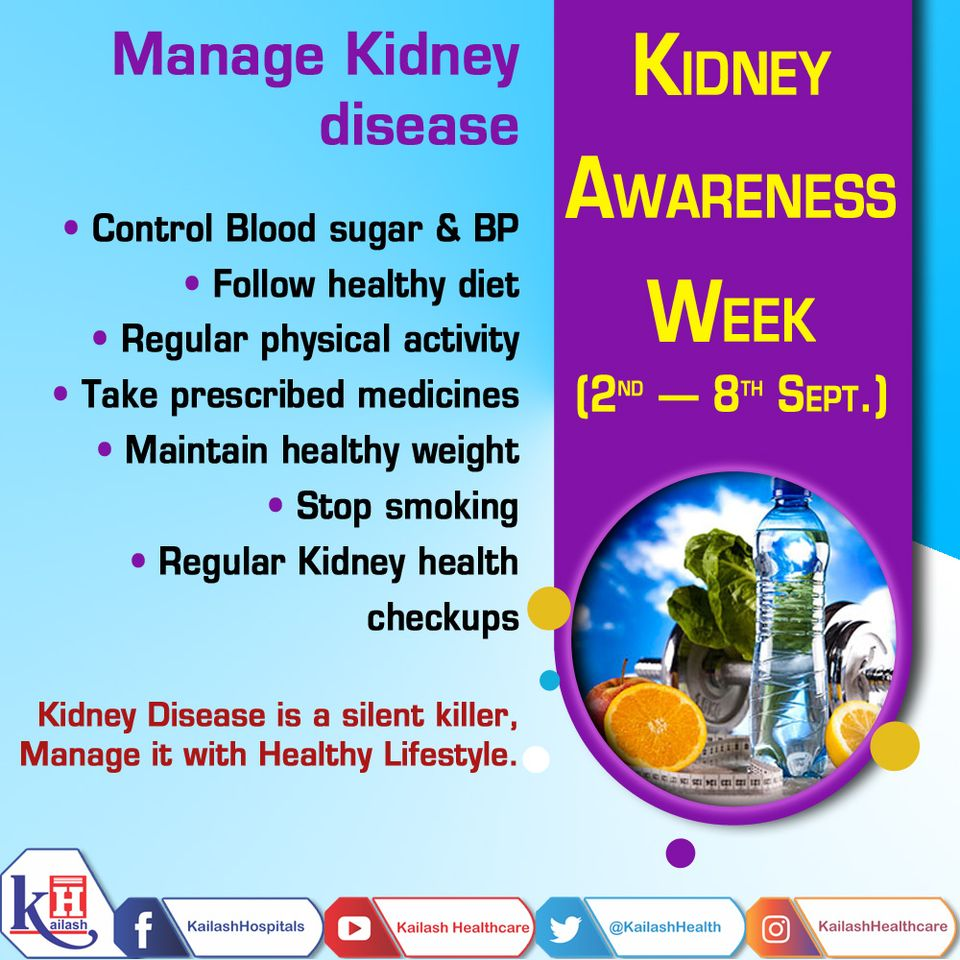 Kidney Disease is a silent killer. Some of these are irreversible & manageable. Manage Kidney disease with healthy lifestyle changes.