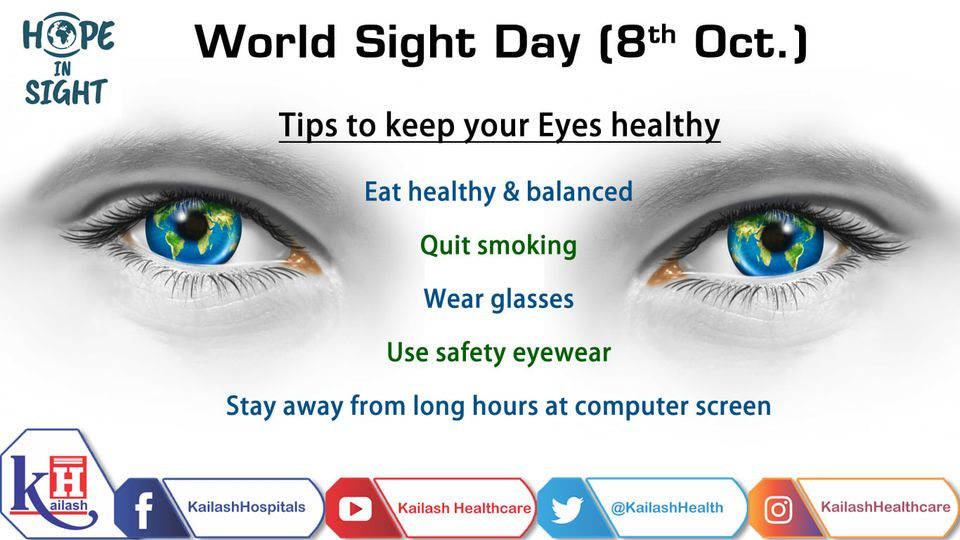 Eyes are your window to the colorful world, preserve them safely. On World Sight Day, let's pledge to create awareness about preventable blindness.