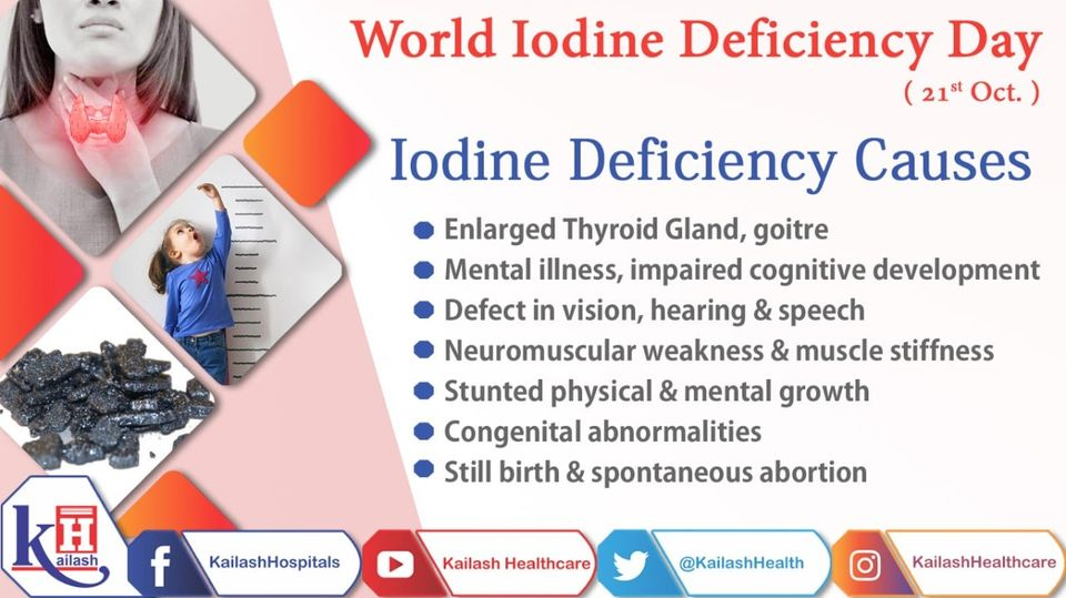 Iodine deficiency can cause several health problems including enlarged thyroid gland and neuromuscular weakness.
