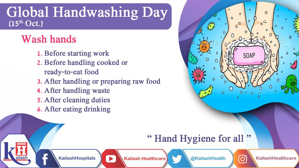On Global Hand Washing Day, Let's spread awareness about the importance of hand-washing with soap.