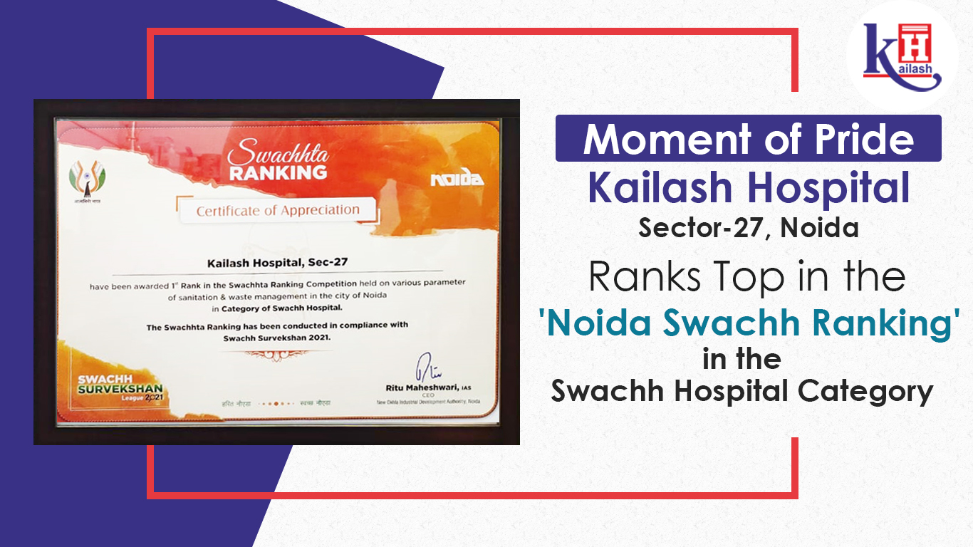 A Moment of Pride for all of us! Kailash Hospital, Sec-27, Noida has ranked Top in the 'Noida Swachh Ranking' in the Swachh Hospital Category
