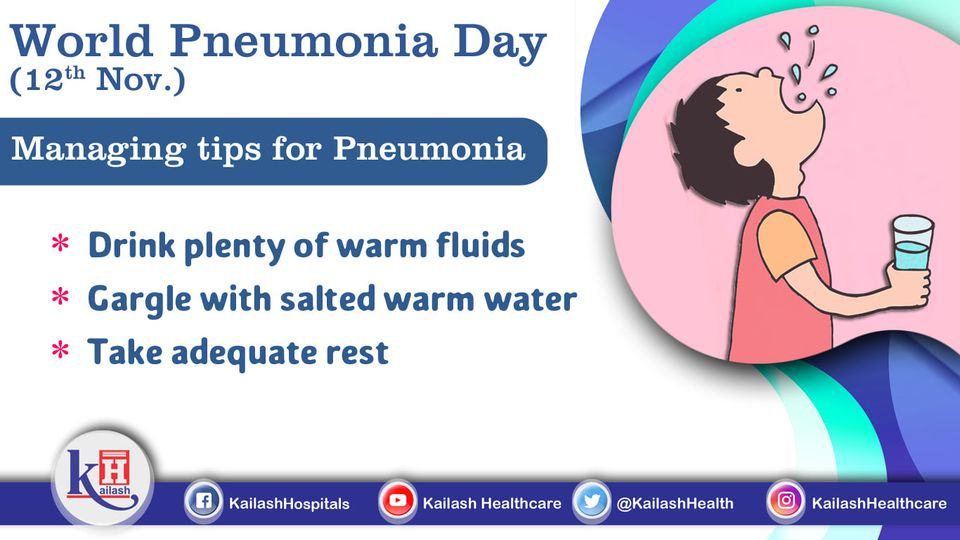 Pneumonia symptoms can be well managed through drinking warm liquids and gargle.