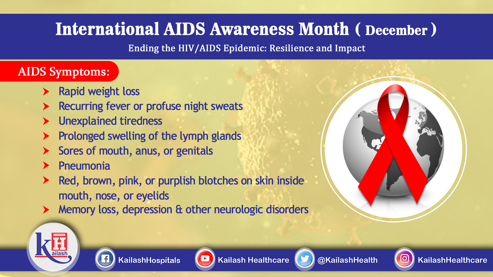 HIV infection is usually asymptomatic until it progresses to AIDS. If you experience these warning signs it may indicate HIV infection.