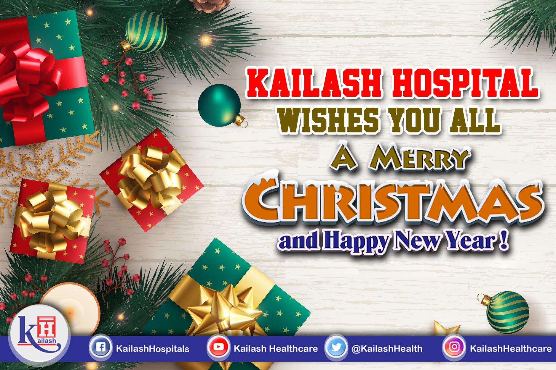 Let your Health shine bright & Life be full of delight. Kailash Hospital wishes you all a Merry Christmas & Happy New Year!