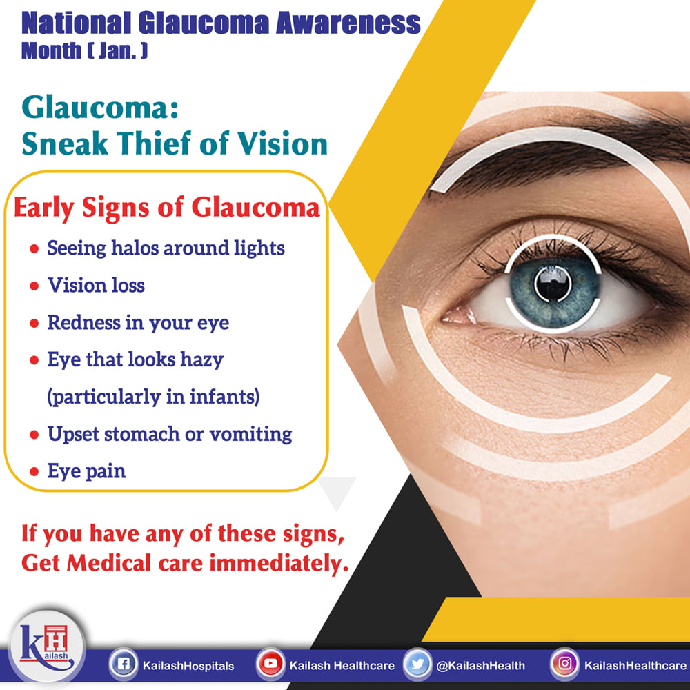 Glaucoma is a sneak thief of Vision. The signs come up very late until they are diagnosed. So Regular Eye checkup is important!