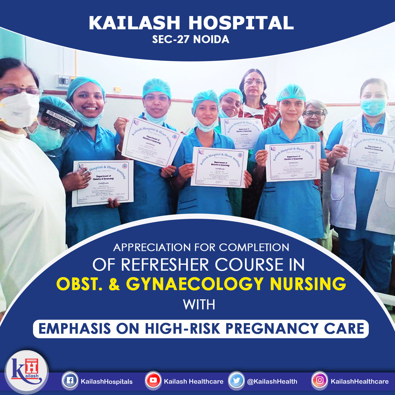 Moments from Appreciation of Nursing team at Kailash Hospital, Sec- 27 Noida in the presence Chairperson Dr. Uma Sharma, for Completion of their Refresher Course in Obst. & Gynaecology Nursing with Emphasis on High- Risk Pregnancy care.